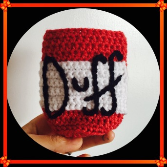 crochetfordays duff beer coozy